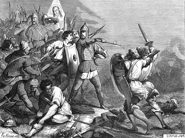 Князь Мстислав Удалой ведет новгородцев на битву с суздальцами. Художник Н.А. Кошелев