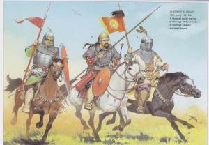 Черные клобуки, 12—нач. 13 века н.э. 1. Русский дворянский воин. 2. Командир чёрных клобуков. 3. Знаменосец черных-клобуков