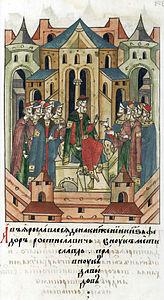 164px-Facial_Chronicle_-_b.072C_p.039_-_Fedor_Konstantinovich_of_Yaroslavl_enthroned