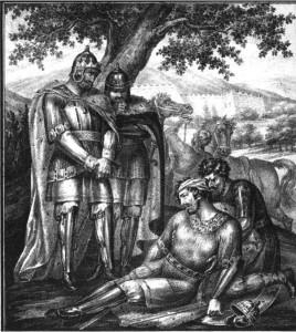 Ростислав Мстиславич и его племянник Мстислав находят умирающего Изяслава. Картина Б. Чорикова