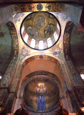 Софийский Собор в Киеве. Мозаики конхи и подкупольного пространства. 1040-е