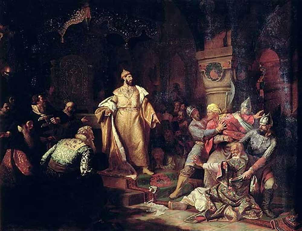 Картина Н. С. Шустова «Иван III свергает татарское иго, разорвав изображение хана и приказав умертвить послов» (1862)
