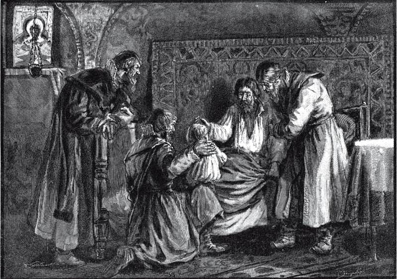 ЗЕЙДЕНБЕРГ С., гравировал Ю. МУЛЬТАНОВСКИЙ. «Василий III благословляет перед кончиной сына своего Ивана IV». XIX в.