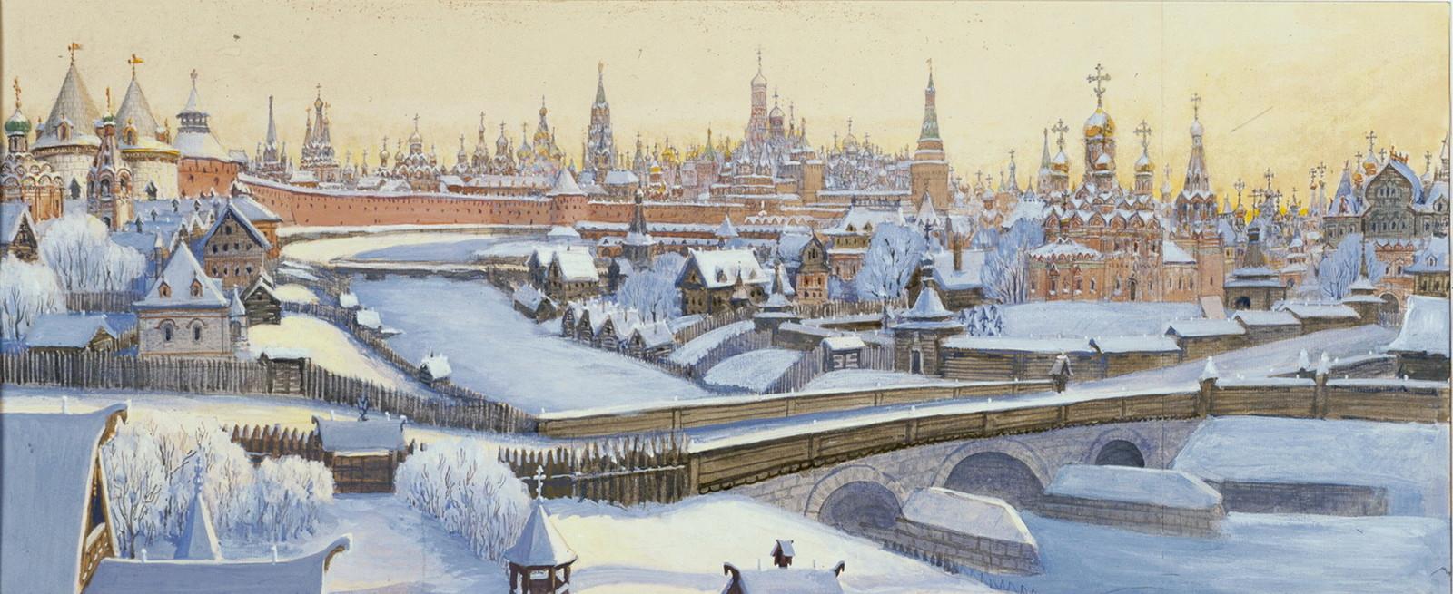 Вид на Кремль от Кузнецкого моста. По книге: М. П. Кудрявцев «Москва — Третий Рим», М., Сол Систем, 1994