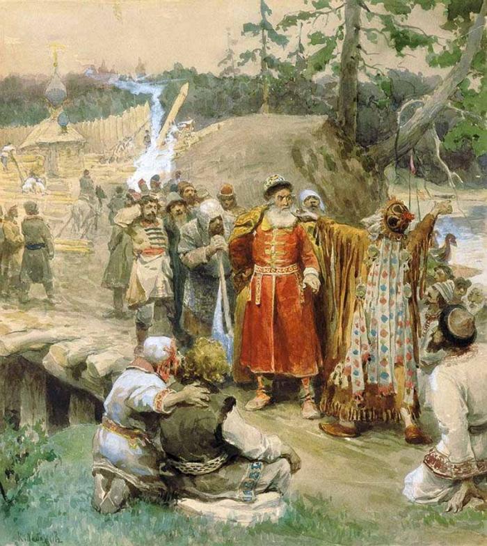 Освоение русскими новых земель. Худ. К. Лебедев