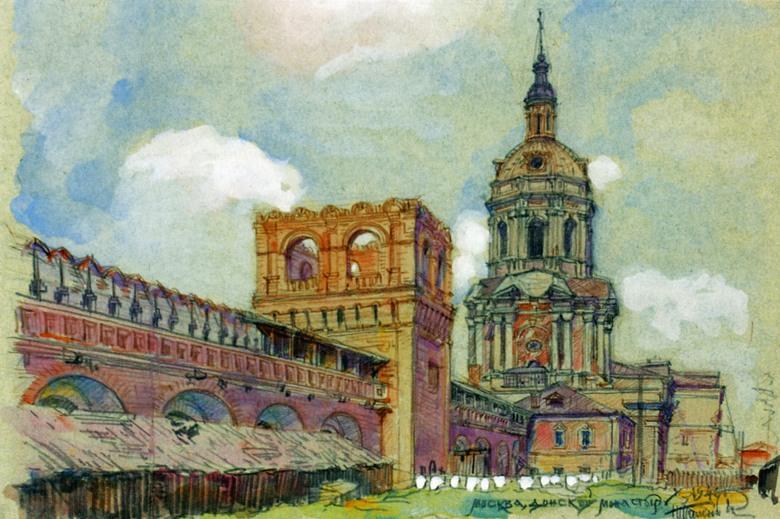 Н. Я. Тамонькин. Донской монастырь. Рисунок 1946 г.