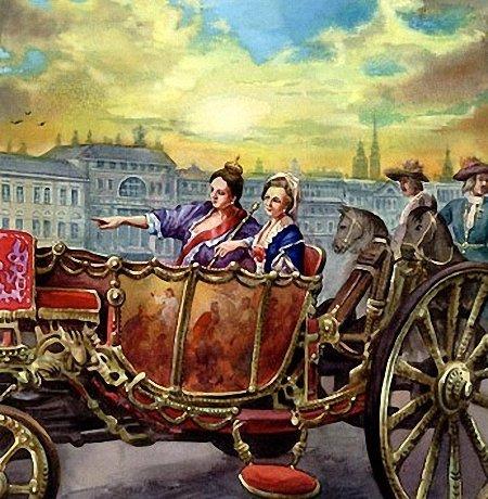 Автор неизвестен Анна Иоанновна и Анна Леопольдовна на прогулке.93318_600