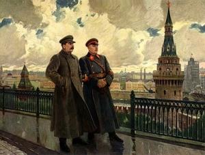 А.М. Герасимов - И.В. Сталин и К.Е. Ворошилов в Кремле.