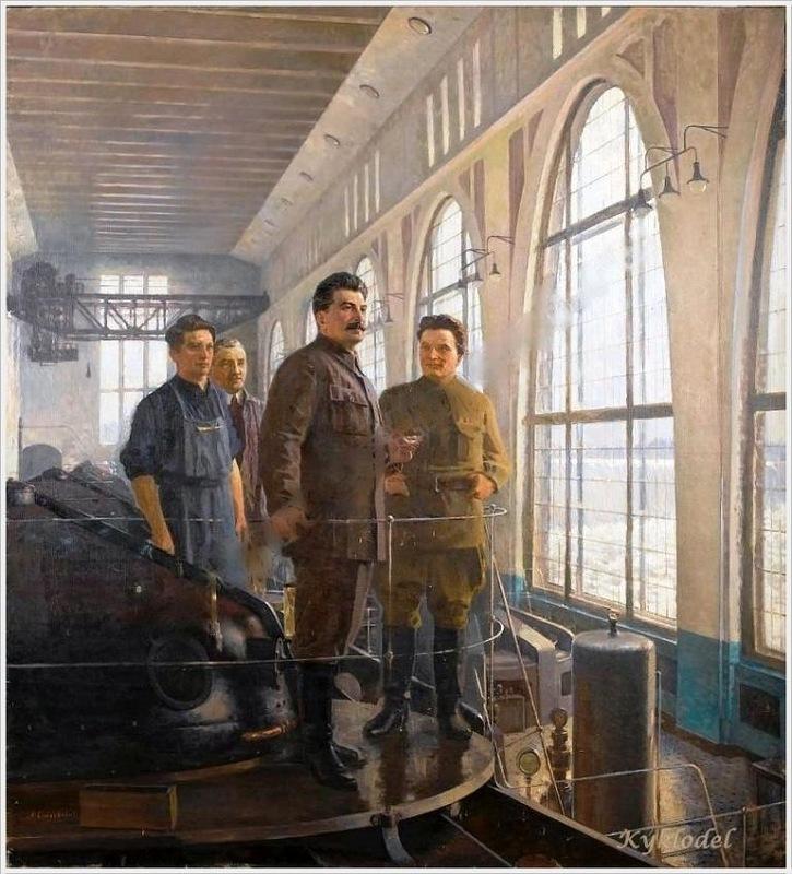 Самохвалов Александр Николаевич (1894-1971). «Сталин и Киров на Волховстрое» (1950) (картон, масло, 33x49 см)