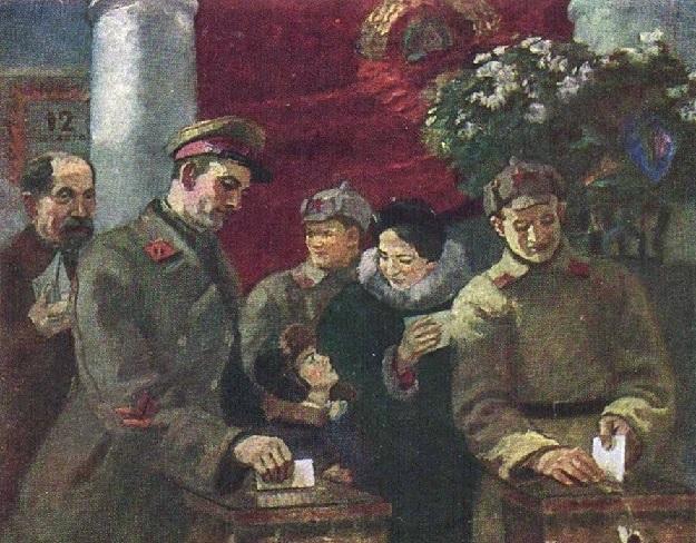 Одинцов Владимир Григорьевич (1902-1957) «Бойцы голосуют» 1940