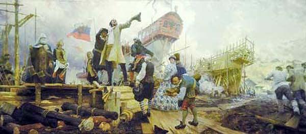Худ. Ю.Кушевский Спуск галеры «Принципиум» на воронежской верфи.Predestanciya-1