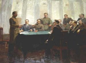 Сталин и члены Политбюро. Плакат