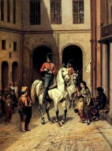 Русский солдат одаривает цыганских певцов в Париже, 1814., Худ. Виллевальде.