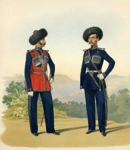 Обер-офицеры лейб-гвардии Черноморского казачьего дивизиона (парадная форма и виц-полукафтан). 18 марта 1855 г.
