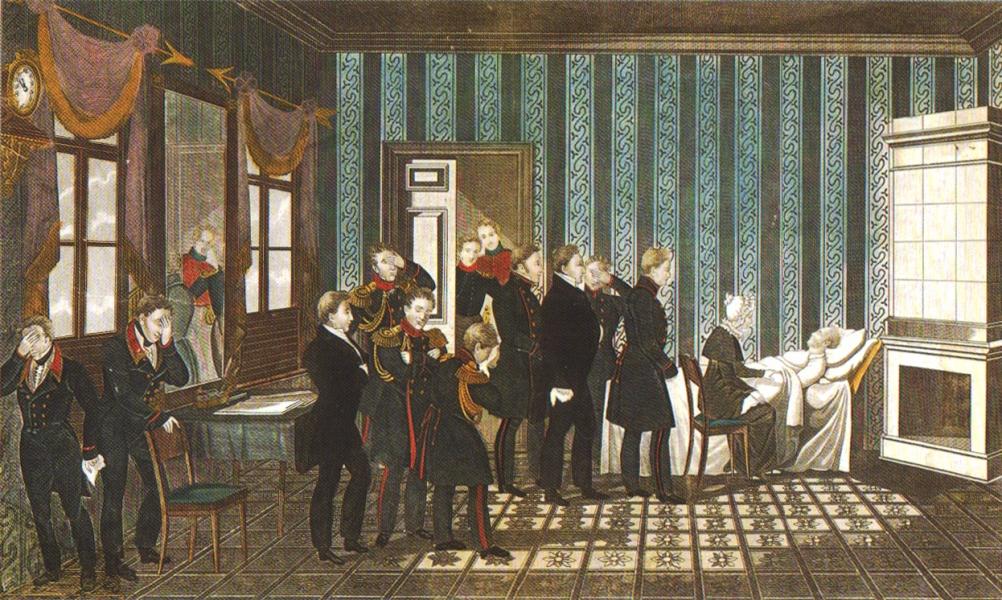 Неизв. худ. Смерть императора Александра I в Таганроге.Бумага, литография, 1825 г.
