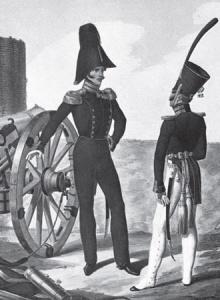 Штаб-офицер и обер-офицер Л.-гв. 1-й Артиллерийской бригады. Нач. 1830-х гг. Литография Л. Белоусова