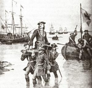 Н. Дмитриев-Оренбургский. Персидский поход Петра Великого. Император Пётр I первый высаживается на берег