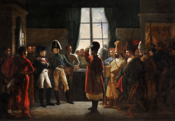 Пьер-Ноласк Бержере. Александр I знакомит Наполеона с калмыкскими и башкирскими казаками своей армии 3 июля 1807 года.