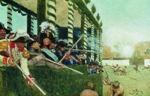 Илья Ефимович Репин. Император Александр I и император Наполеон на охоте. 1907-1908