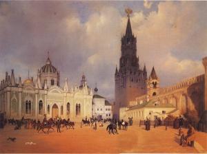 1838. У Спасских ворот Кремля. МОСКВА В ЖИВОПИСНЫХ РАБОТАХ И ГРАФИКЕ
