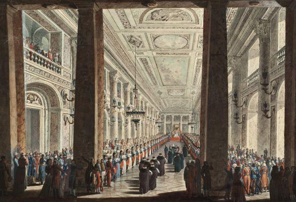 Воронихин А.Н. Прием Екатериной II турецкого посольства в Большой галерее Зимнего дворца. 1793