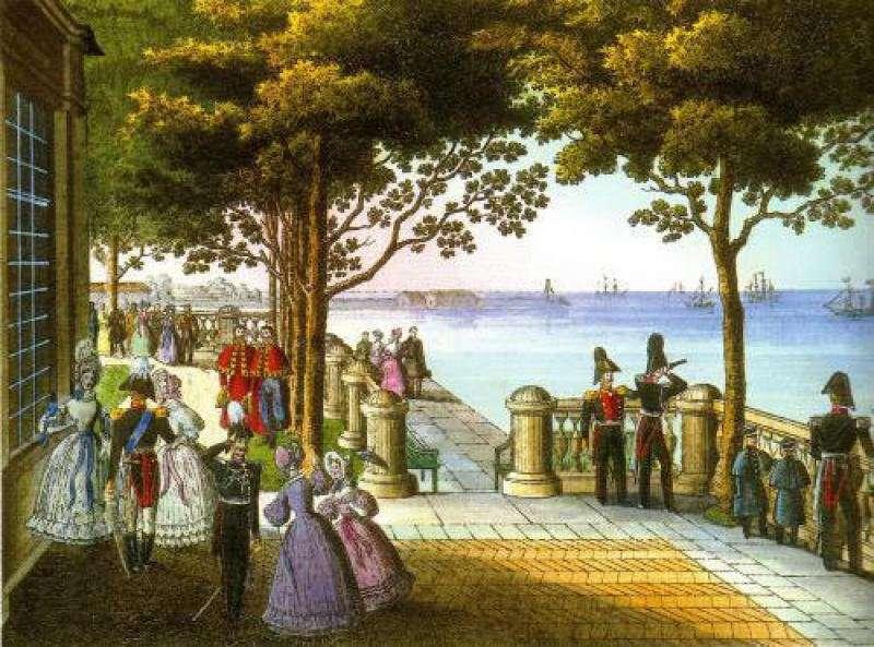 Монплезир в Петергофе, с оригинала К. Беггрова, 1837