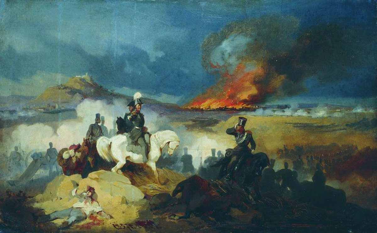 Атака лейб-гусар под Варшавой. Худ. Б. Виллевальде. 1857 г.
