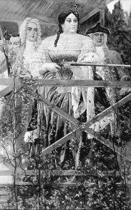 Анна Иоанновна с Волынским и Бироном на охоте в петергофском зверинце. А. Рябушкин. 1900-е гг.