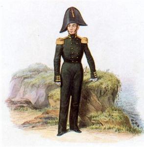 Штабс-офицер Гвардейского экипажа в виц-мундире,1810-1811гг. Морской гвардейский экипаж