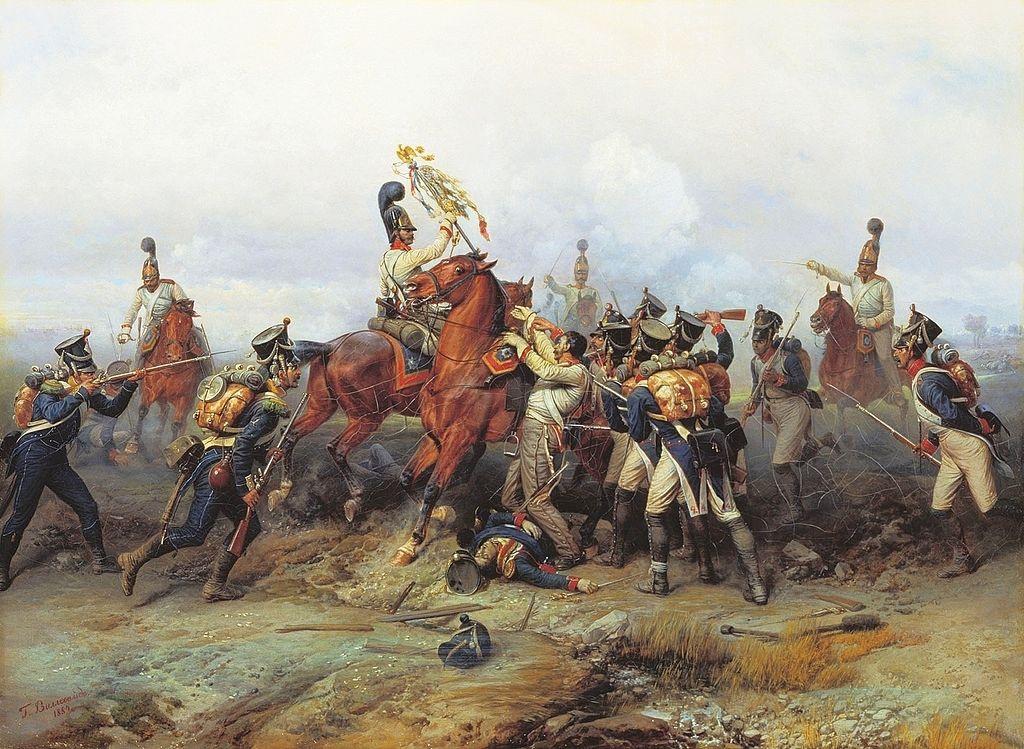 «Подвиг конного полка в сражении при Аустерлице в 1805 году», БОГДАН ПАВЛОВИЧ ВИЛЛЕВАЛЬДЕ. 1884.