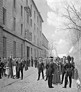 Чины Гвардейского экипажа в Париже. Художник И.С. Розен