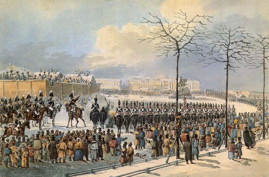 К. И. Кольман. 14 декабря 1825 года на Сенатской площади