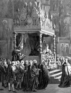 Венчание на царствие Екатерины II. в Успенском соборе 22 сентября 1762 года. Гравюра. Нач. 1880-х гг. Фрагмент.
