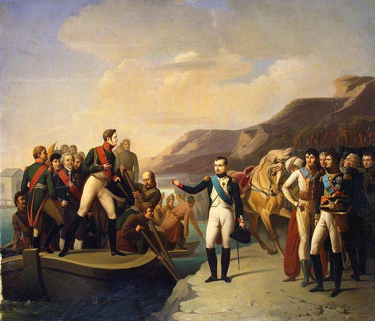Прощание Наполеона I и Александра I после встречи в Тильзите 9 июля 1807 года. Начало XIX века. Неизвестный художник по оригиналу Серанжели. Эрмитаж.