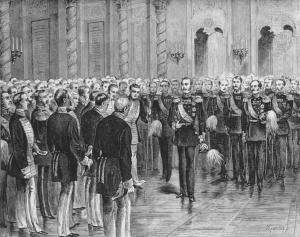 Александр II призывает московских дворян приступить к освобождению крестьянства. 1857. Гравюра. Начало 1880-х гг.