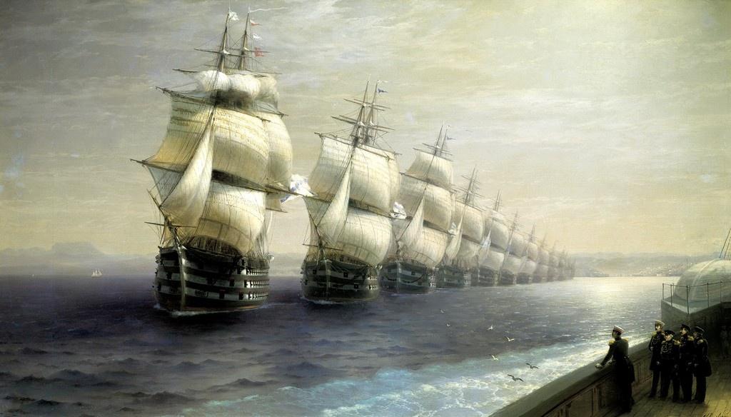 Айвазовский И.К. (1817-1900). Смотр Черноморского флота в 1849 г. 1886.
