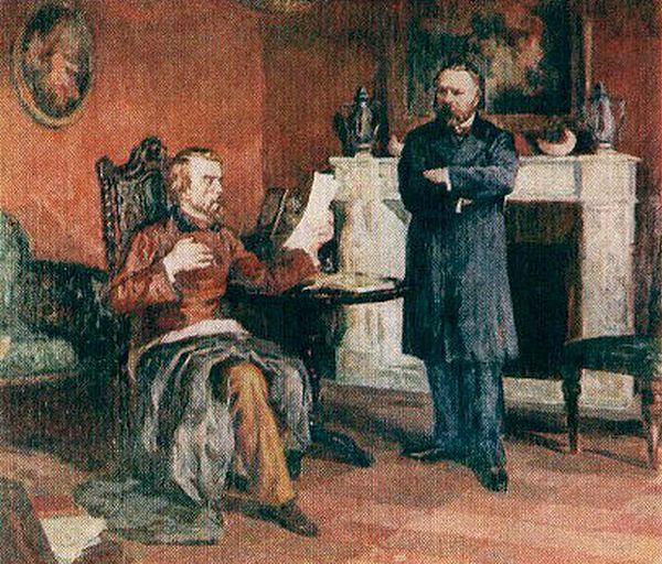 Бєлінський читає А.І. Герцену свого =листа Гоголю= в Парижі. Художник А. Северин.