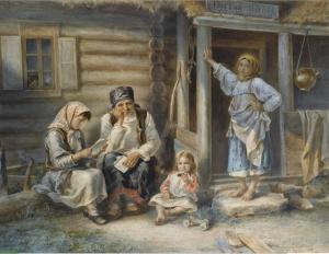 Сельская школа. Художник Алексей Иванович Стрелковский, 1872.