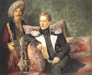 Портрет военного со слугой. Рисунок А. П. Брюллова. 1830-е гг.