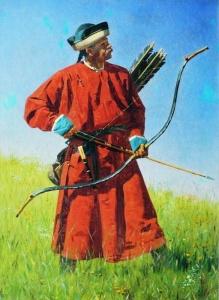 Бухарский солдат (сарбаз)1873 //Демин Л. С мольбертом по земному шару: Мир глазами Верещагина. – М., 1991