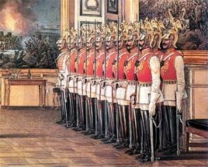 Э.П. Гау. Караул лейб-гвардии Конного полка в Зимнем дворце. 1866 г
