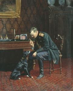Офицер с собакой (В интерьере) 1886 Холст, масло. 60 x 49 см Донецкий областной художественный музей. БУНИН НАРКИЗ НИКОЛАЕВИЧ 1856-1912