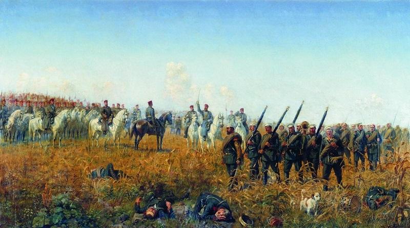 Лейб-гвардии Гусарский полк приветствует лейб-гвардии Егерский полк после боя под Темичем 12 октября 1877 года 1888. БУНИН НАРКИЗ НИКОЛАЕВИЧ 1856-1912