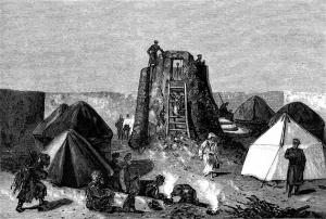 Н. Н. Каразин (с наброска поручика Петникова). Гелиографическая станция в Янги-Кала. 1881 год.