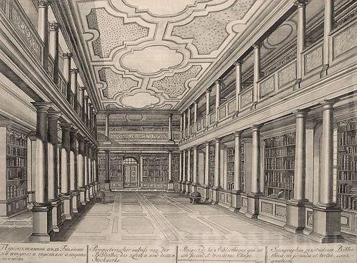 Внутренний интерьер Библиотеки (гравюра с рисунков И.Я. Шумахера. 1741 г.)