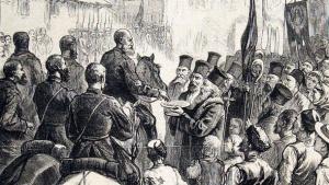 Войска генерала Гурко вступают в Софию, гравюра, опубликованная в итальянской печати
