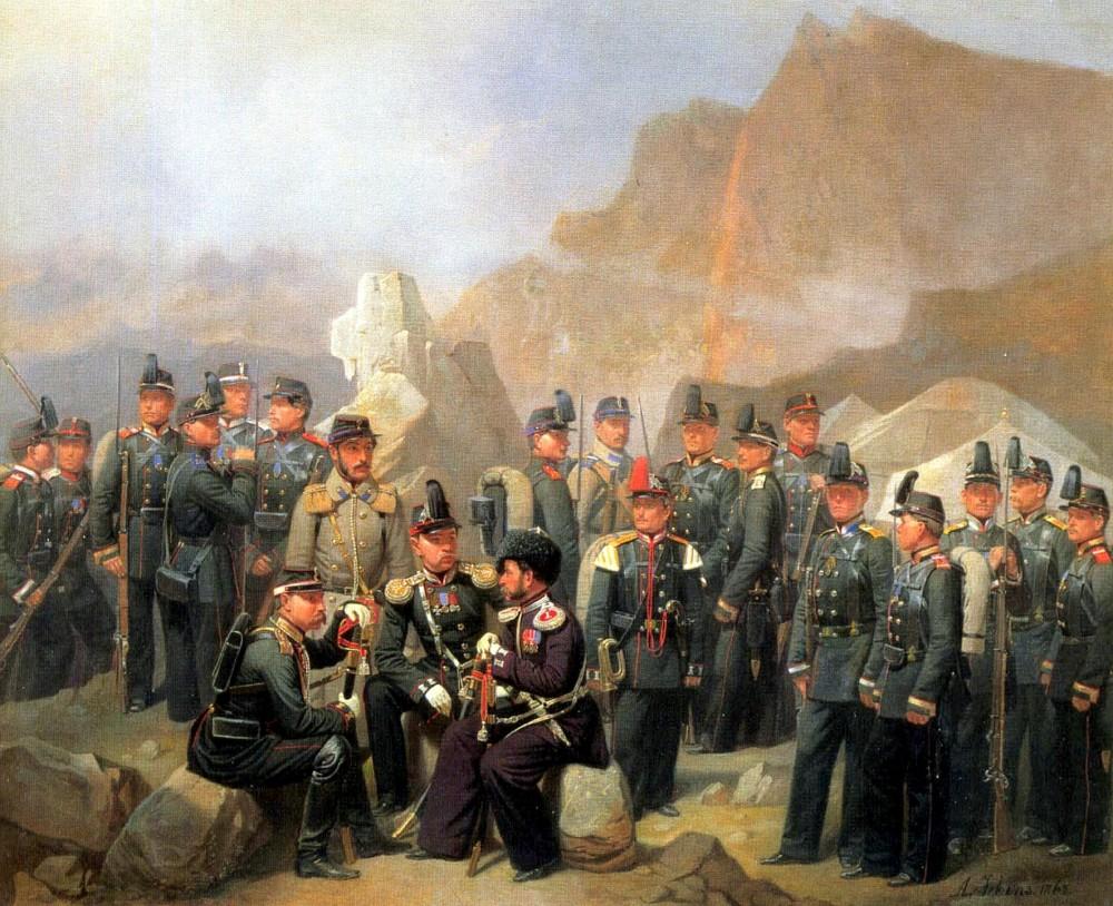Чины Кавказкого корпуса, (1862), холст, масло, Музей Суворова