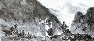 Рис. Н.Н. Каразина. На Шипкинском перевале. Болгарки разыскивают русских раненых в ущелье