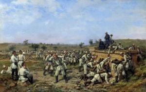 Ковалевский Павел (1843-1903). Привал 140-го пехотного Зарайского полка 35-й пехотной дивизии. 1877 год. 1880-е. Холст, масло.