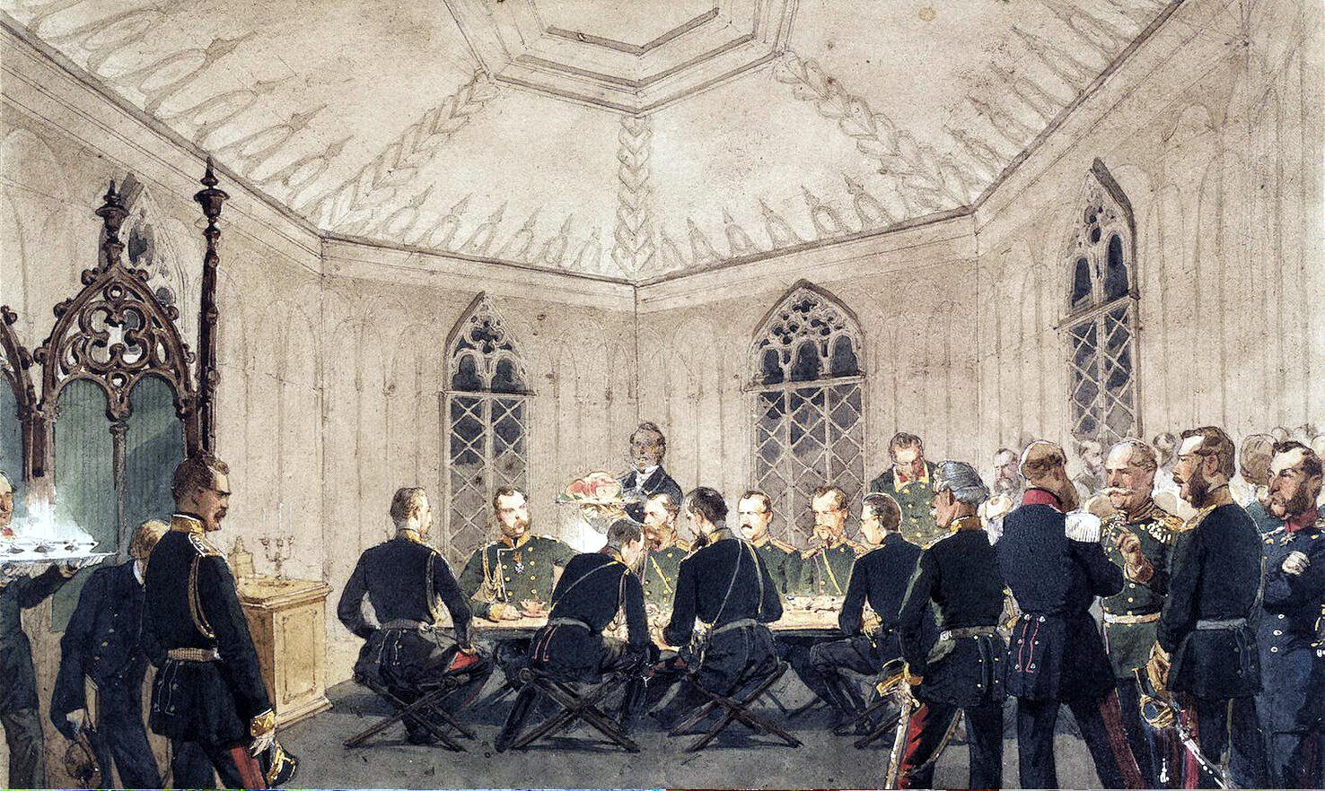 Михай Зичи. «Александр II с группой военных за столом в готическом интерьере».